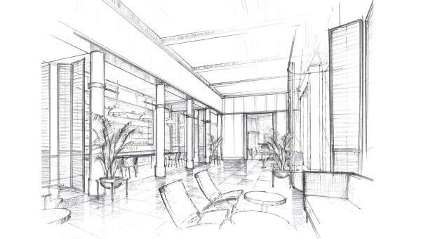 The lobby concept for the new Perry Lane Hotel. A modern take on a classic Southern Porch.